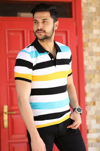 Image of Striped Polo Neck T-Shirt