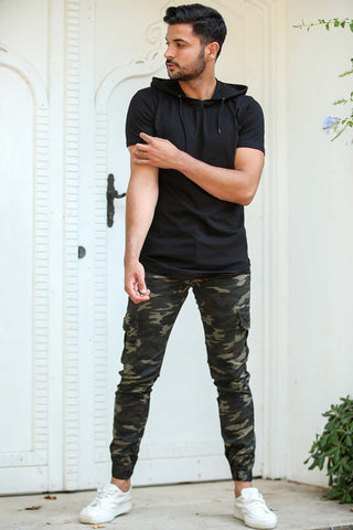 Image of Men's Elastic Ankle Camo Pattern Cargo Pants