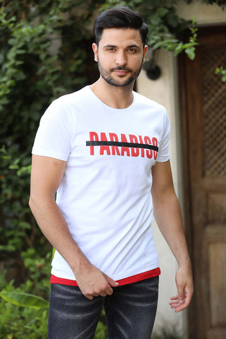 Image of Men's Printed White T-shirt