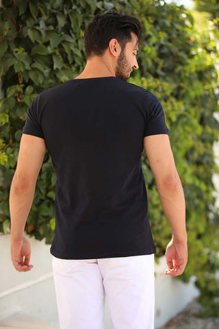 Image of Men's Printed Navy Blue T-shirt
