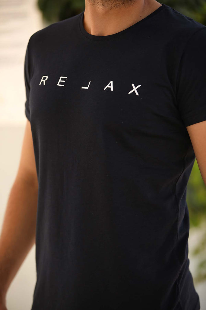 Men's Printed Navy Blue T-shirt