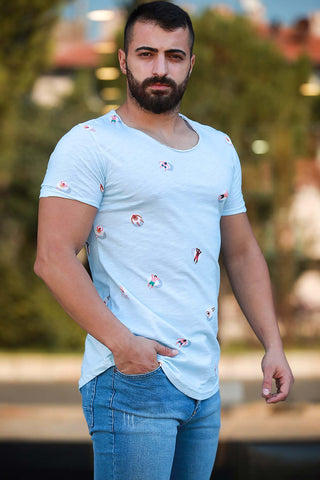 Men's Printed Blue T-shirt