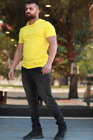 Image of Men's Hooded Yellow T-shirt