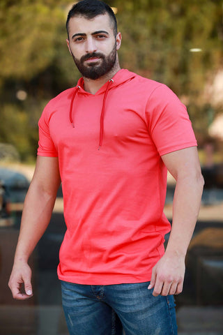 Image of Men's Hooded Vermilion T-shirt