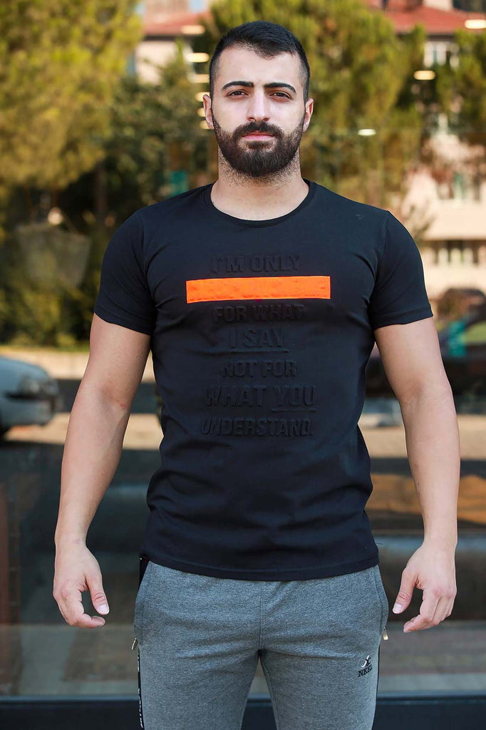 Men's Printed Black T-shirt
