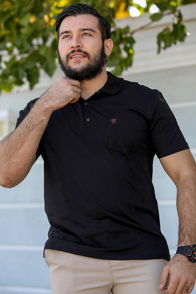 Men's Polo Collar Black T-shirt