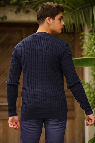 Men's Navy Blue Tricot Cardigan