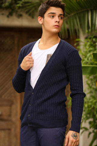 Image of Men's Navy Blue Tricot Cardigan