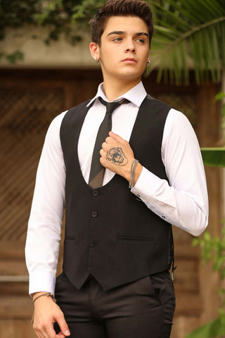 Image of Men's Button Black Waistcoat