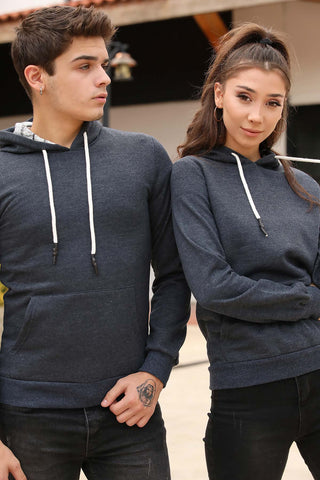 Image of Unisex Hooded Kangaroo Pocket Navy Blue Sweatshirt