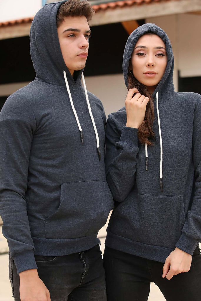 Unisex Hooded Kangaroo Pocket Navy Blue Sweatshirt