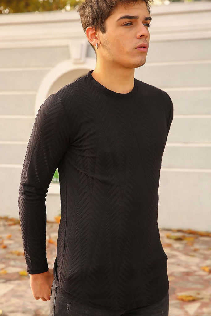 Men's Crew Neck Black Sweatshirt