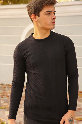 Image of Men's Crew Neck Black Sweatshirt