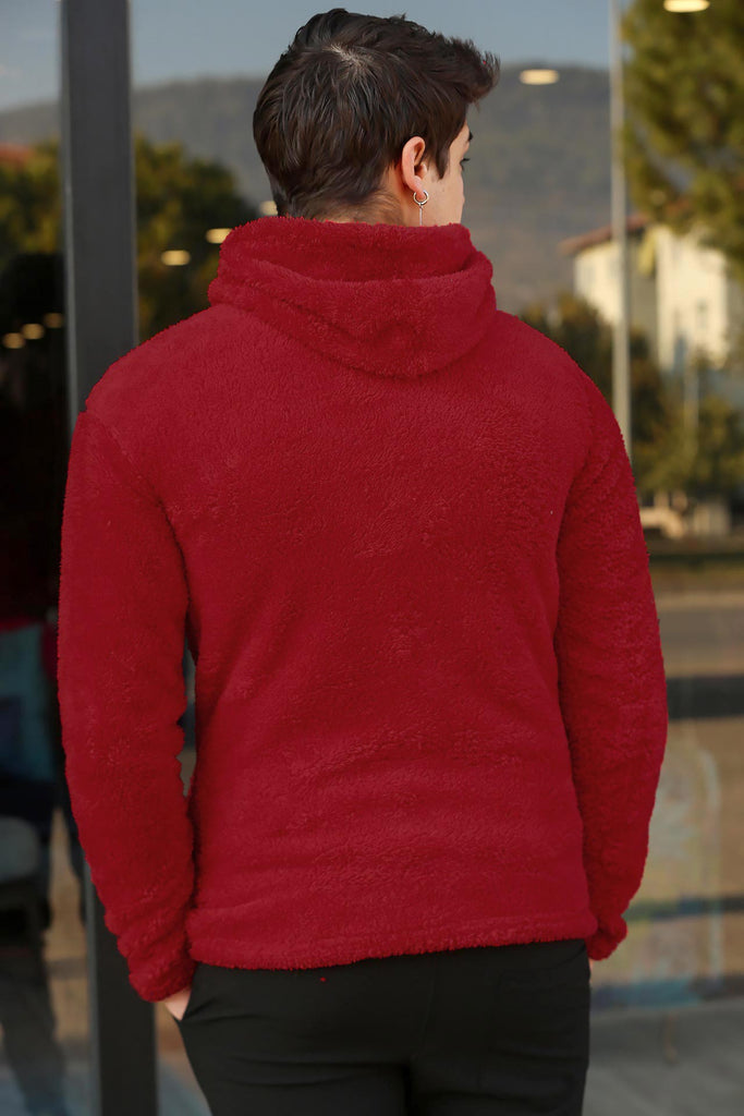 Men's Hooded Red Plush Sweatshirt