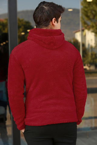 Image of Men's Hooded Red Plush Sweatshirt