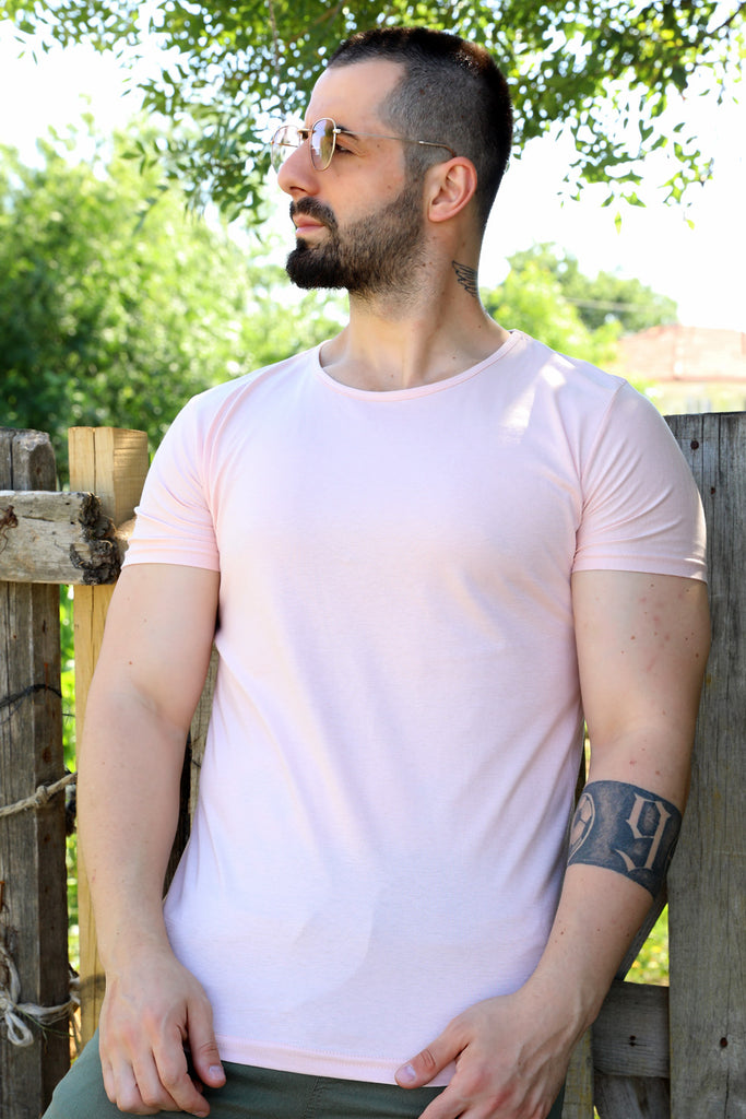 Men's Crew Neck Basic Salmon T-shirt