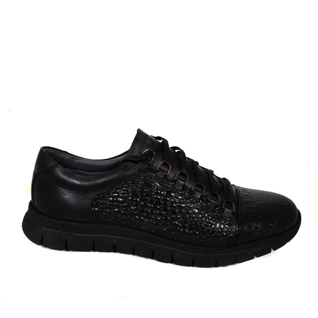 Men's Crocodile Pattern Black Leather Shoes