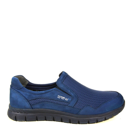 Image of Men's Navy Blue Nubuck Leather Sport Shoes