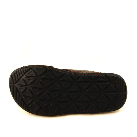 Image of Men's Brown Leather Slippers