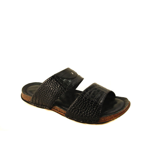 Image of Men's Black Leather Slippers