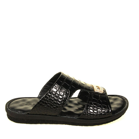 Men's Black Crocodile Slippers
