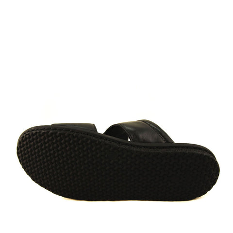 Men's Black Leather Slippers