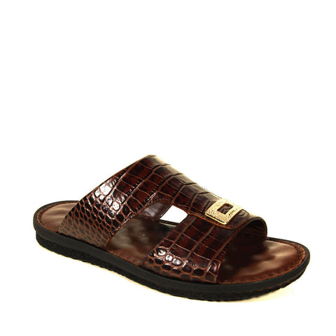 Image of Men's Crocodile Print Leather Slippers