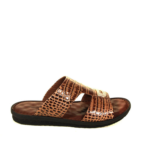 Men's Crocodile Print Leather Slippers