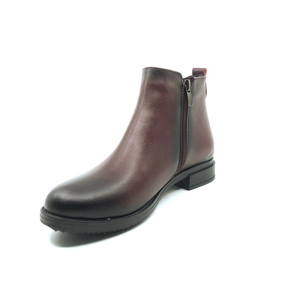 Women's Zipped Claret Red Boots