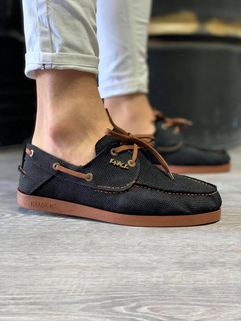 Men's Black Linen Seasonal Shoes