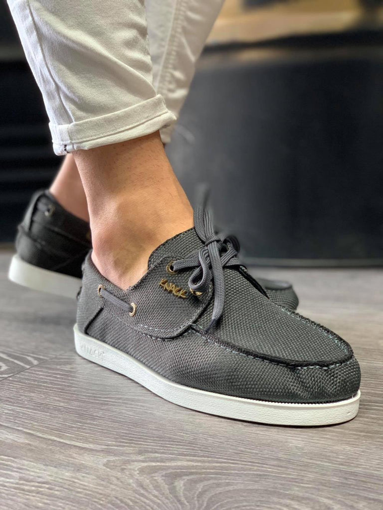 Men's Grey Linen Seasonal Shoes