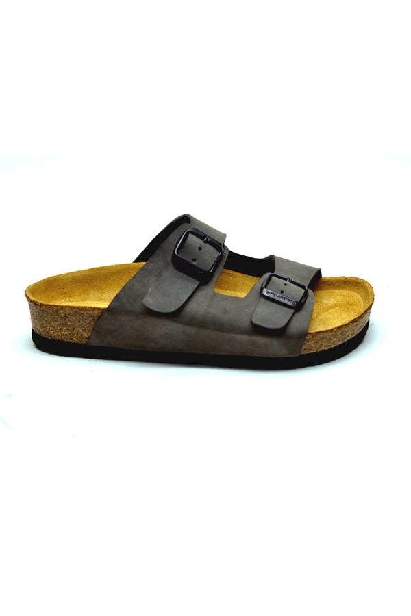 Unisex Anatomical Natural Footbed Double Band Leather Slippers