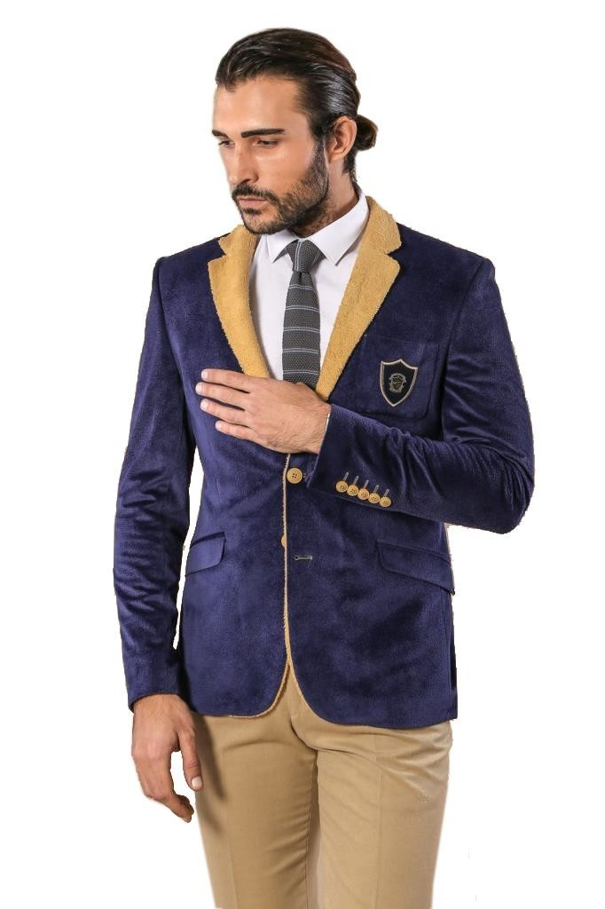 Men's Crested Navy Blue Velvet Jacket