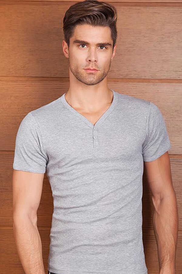Men's V-neck Buttoned Grey Camisole Athlete