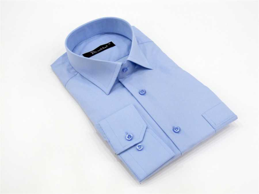 Men's Classic Cut Long Sleeves Plain Blue Shirt