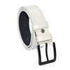 Men's Stitched White Artificial Leather Sport Belt- 4 cm