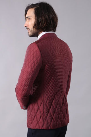 Men's Claret Red Quilted Jacket