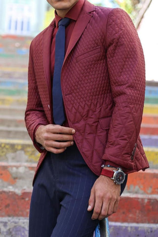 Image of Men's Claret Red Quilted Jacket