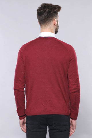 Men's Claret Red Cotton Cardigan