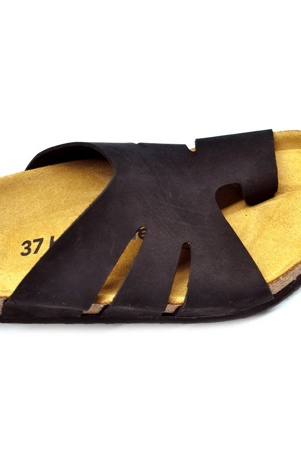 Women's Anatomical Natural Footbed Black Leather Slippers