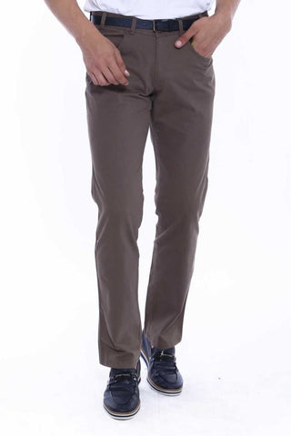 Image of Men's Flap Pocket Brown Suede Pants