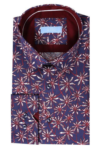Image of Men's Floral Pattern Navy Blue Shirt