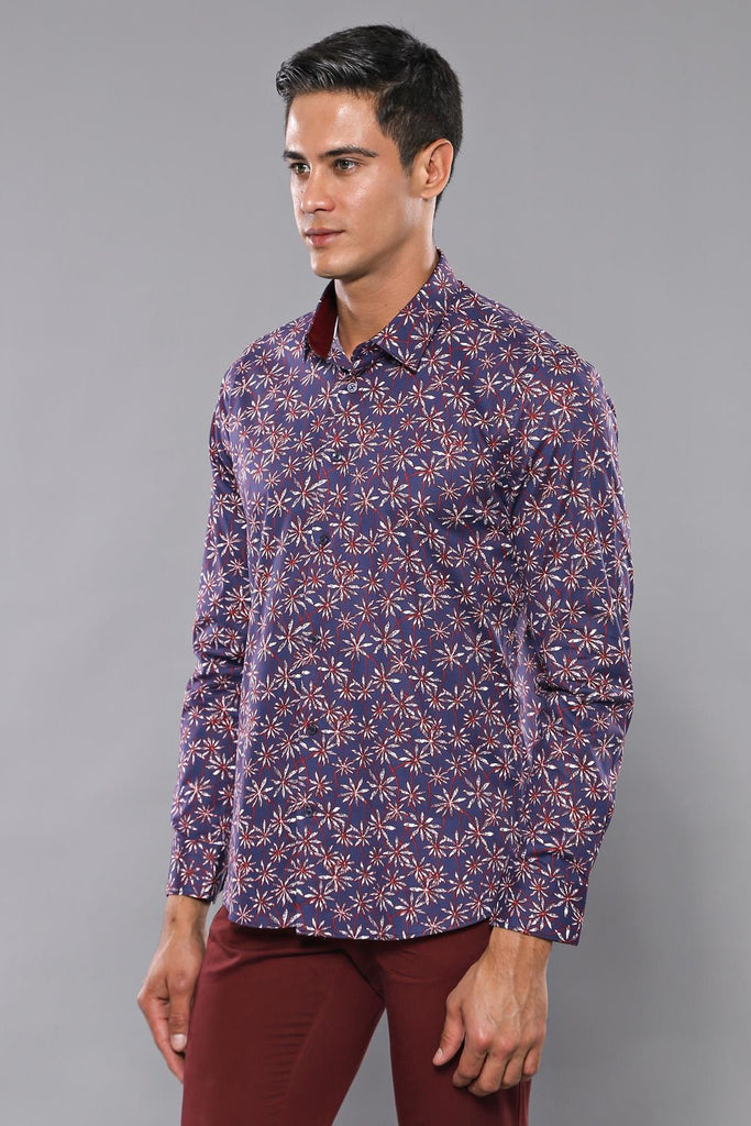 Men's Floral Pattern Navy Blue Shirt