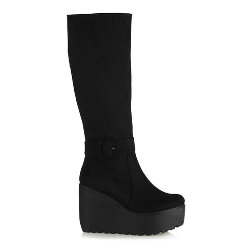 Women's Belted Black Suede Wedge Long Boots