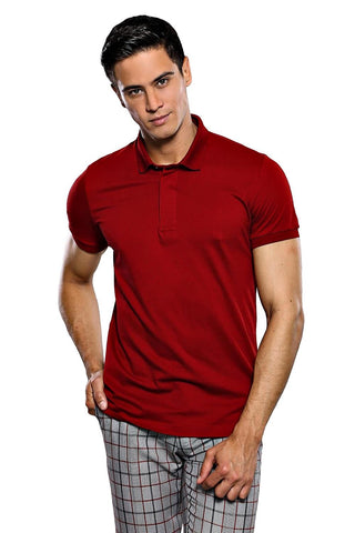 Image of Men's Polo Collar Plain Claret Red T-shirt