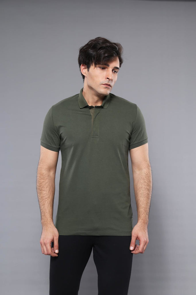 Men's Plain Khaki Polo T-shirt