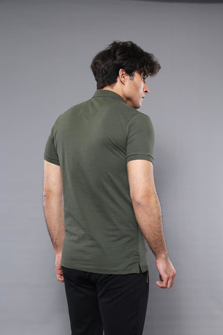 Image of Men's Plain Khaki Polo T-shirt