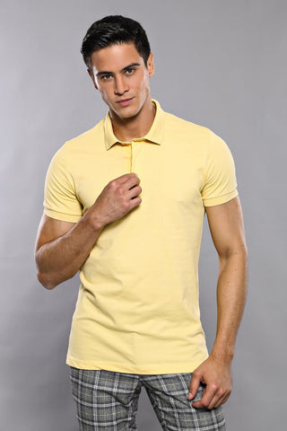 Image of Men's Plain Yellow Polo T-shirt