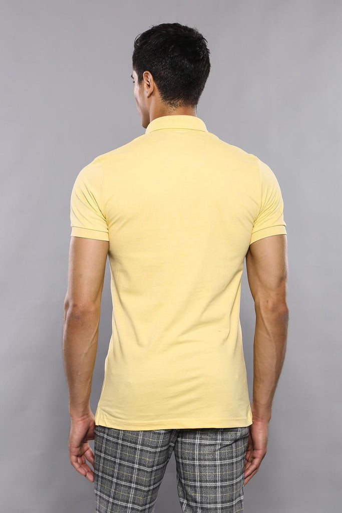 Men's Plain Yellow Polo T-shirt