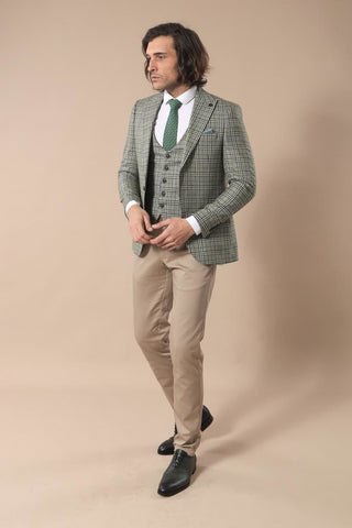 Men's Plaid Khaki Jacket Vest Set